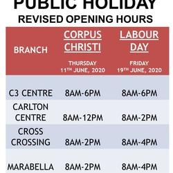 PUBLIC HOLIDAY OPENING HOURS - CORPUS CHRISTI & LABOUR DAY