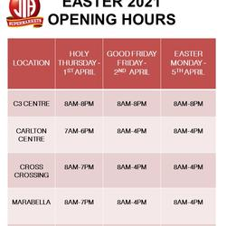 EASTER 2021 OPENING HOURS -