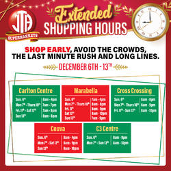 EXTENDED SHOPPING HOURS - DECEMBER 9TH TO JANUARY 3RD