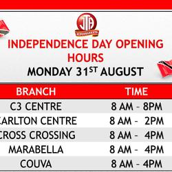 PUBLIC HOLIDAY OPENING HOURS - INDEPENDENCE DAY