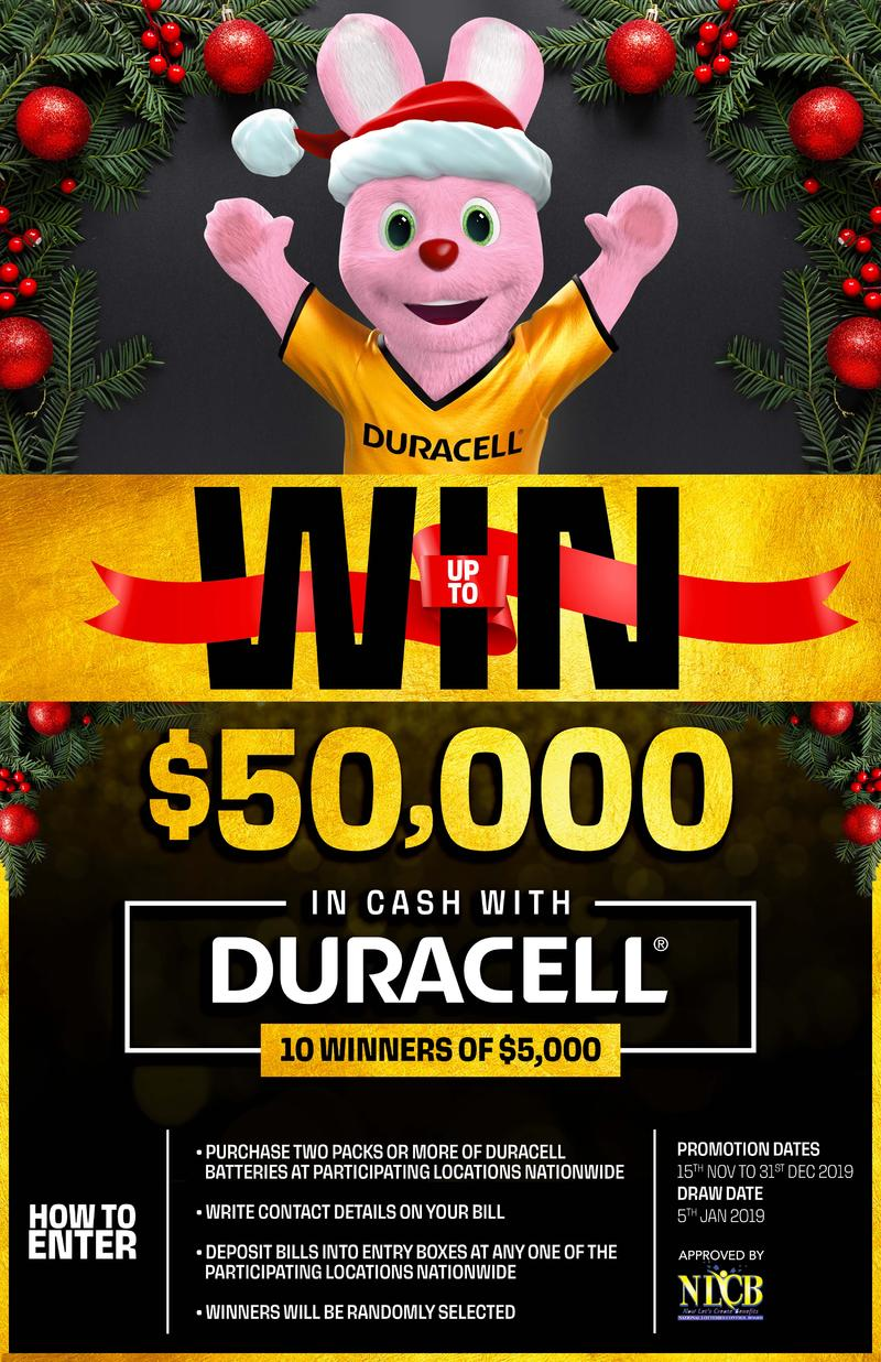 WIN Cash with Duracell Christmas Promotion!!