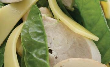 Steamed Chicken Salad with Mushroom, Spinach and Gouda