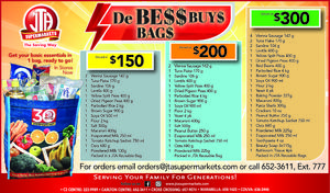 DE BE$$ BUY$ BAG$ at JTA Supermarkets!