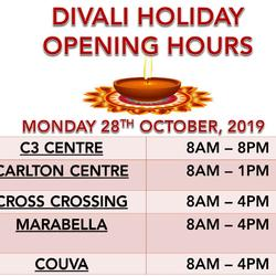 Public Holiday Hours - Divali 2019