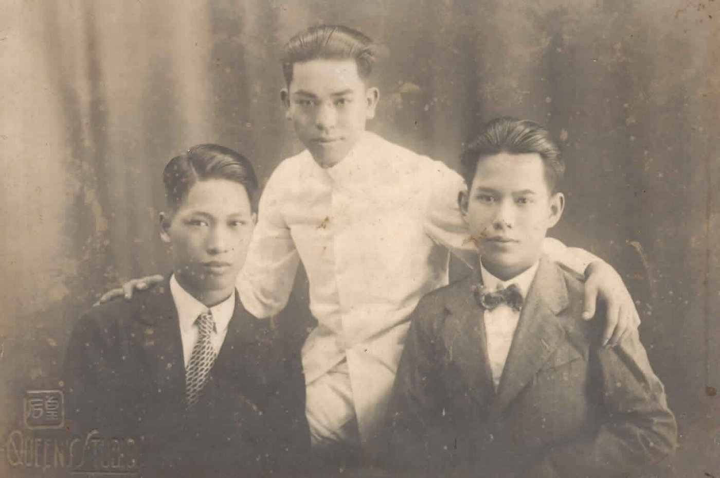 Carlton K. Mack (far right) with his brother and cousin before moving to Trinidad in 1932